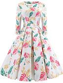 voordelige Vintagejurken-Dames Uitgaan Vintage Elegant Katoen Slank Wijd uitlopend Jurk - Bloemen, Print Tot de knie