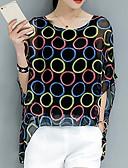 זול חולצה-גיאומטרי משוחרר בוהו / סגנון רחוב ליציאה חולצה - בגדי ריקוד נשים דפוס שרוול עטלף / אביב / קיץ