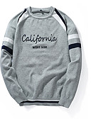 cheap Men's Sweaters & Cardigans-Men's Pullover - Solid Colored / Striped / Letter, Patchwork