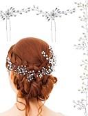 hesapli Nedime Elbiseleri-Kristal / İmitasyon İnci Bağcıklı  -  Baş Zinciri 3 Parça Düğün / Özel Anlar Başlık