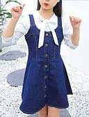 povoljno Haljine za djevojčice-Djeca Djevojčice Aktivan / Ulični šik Dnevno / Izlasci Jednobojni Bez rukávů Umjetna svila Haljina Plava 140