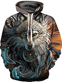 cheap Men's Hoodies & Sweatshirts-Men's Plus Size Punk & Gothic / Exaggerated Long Sleeve Hoodie - 3D Print Round Neck Brown XL / Fall