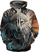 رخيصةأون كنزات هودي رجالي-رجالي بانغك & قوطي / مبالغ فيه قياس كبير بنطلون - 3D طباعة بني / رقبة دائرية / كم طويل / الخريف