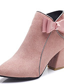 cheap Women's Belt-Women's Fashion Boots PU(Polyurethane) Fall Minimalism Boots Chunky Heel Pointed Toe Booties / Ankle Boots Bowknot Black / Beige / Pink