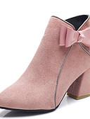 preiswerte Damenuhren-Damen Fashion Boots PU Herbst Minimalismus Stiefel Blockabsatz Spitze Zehe Booties / Stiefeletten Schleife Schwarz / Beige / Rosa