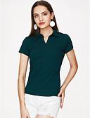 ieftine Tricou-Pentru femei În V Tricou Ieșire Bumbac Mată
