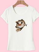 voordelige Dames T-shirts-Dames Standaard Print T-shirt Katoen, Uitgaan dier Kat Wit