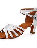 ieftine Fracuri-Pentru femei Pantofi Dans Latin Satin Sandale / Călcâi Cataramă Toc Cubanez Personalizabili Pantofi de dans Alb