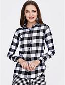 baratos Calcinhas-Mulheres Camisa Social Moda de Rua Quadriculada