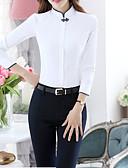 baratos Vestidos Plus Size-Mulheres Tamanhos Grandes Camisa Social - Trabalho Básico Patchwork, Sólido Colarinho Chinês Delgado
