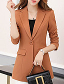 cheap Women's Dresses-women's going out blazer-solid colored peter pan collar