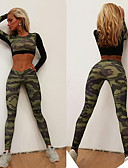 cheap Women's Dresses-Women's Sexy Tracksuit - Camouflage Sports Fashion Leggings / Crop Top Yoga, Running, Fitness Long Sleeve Activewear Breathable, Compression, Sweat-wicking Stretchy