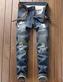 povoljno Muške duge i kratke hlače-Muškarci Osnovni Traperice Hlače Jednobojni