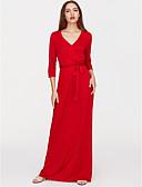 זול שמלות נשים-V עמוק מקסי אחיד - שמלה ישרה רזה סגנון רחוב Party בגדי ריקוד נשים