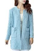 olcso Női pulóverek-Női Napi Alap Egyszínű Hosszú ujj Hosszú Kardigán, Kerek Ősz Bézs / Tengerészkék / Szürke Egy méret