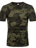 billige T-shirts og undertrøjer til herrer-Rund hals Tynd Herre - Farveblok / camouflage Bomuld Basale T-shirt Brun L / Kortærmet