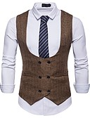 cheap Men's Ties & Bow Ties-Men's Party / Work Business / Basic Spring &  Fall Short Vest, Solid Colored V Neck Sleeveless Polyester White / Black / Khaki L / XL / XXL / Business Casual / Slim