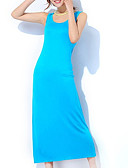 رخيصةأون القمصان وملابس النوم-رقبة U ستان و حراير منامة للمرأة سادة