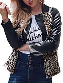 זול עור & עור מעילים עור-בגדי ריקוד נשים שחור XL XXL XXXL ז'קטים מעור מידות גדולות סגנון רחוב / מתוחכם קולור בלוק דפוס צווארון V חגים / ליציאה