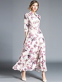 ieftine Rochii Plus Size-Pentru femei Șic Stradă Swing Rochie - Imprimeu, Floral Maxi