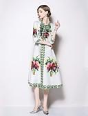 tanie Sukienki-Damskie Podstawowy Linia A / Pochwa Sukienka - Geometric Shape, Wiązanie / Nadruk Midi