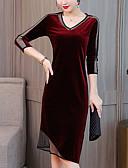 baratos Vestidos Plus Size-Mulheres Moda de Rua / Elegante Tamanhos Grandes Veludo Delgado Calças - Sólido Patchwork Preto / Decote V / Para Noite