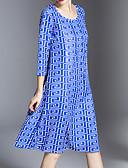 ieftine Tricou-Pentru femei Tricou Rochie Talie Înaltă Lungime Genunchi
