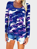 cheap Women's T-shirts-Women's Cotton T-shirt - Camo / Camouflage Blue L