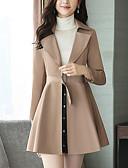 זול שמלות נשים-כותנה בגדי ריקוד נשים חום אודם חאקי L XL XXL מעיל ארוך אחיד גדול צווארון V
