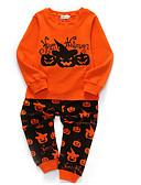 billige Jakker og frakker til drenge-Børn Drenge Basale Ensfarvet / Prikker Langærmet Bomuld / Polyester Tøjsæt Orange