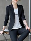 preiswerte Damen Blazer-Damen Arbeit Geschäftlich Übergrössen Standard Blazer, Solide Hemdkragen Langarm Polyester Schwarz / Beige XXL / XXXL / 4XL / Schlank