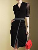 abordables Vestidos de Trabajo-Mujer Trabajo Delgado Pequeño Negro Vestido Un Color Hasta la Rodilla Escote en Pico