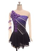 cheap Ice Skating Dresses , Pants & Jackets-Figure Skating Dress Women's / Girls' Ice Skating Dress Purple Flower Halo Dyeing Spandex Micro-elastic Professional / Competition Skating Wear Floral / Botanical / Fashion / Rhinestone Long Sleeve