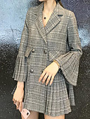 cheap Men's Ties & Bow Ties-Women's Daily Basic Regular Suits, Plaid Shirt Collar Long Sleeve Polyester Dark Gray / Light gray M / L