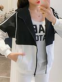 ieftine Pantaloni de Damă-Pentru femei Zilnic De Bază Regular Jachetă, Dungi Capișon Manșon Lung Poliester Negru / Roz Îmbujorat / Albastru Deschis M / L / XL