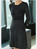 hesapli Sweater Dresses-Kadın's Temel İnce Örgü İşi Elbise - Solid, Kırk Yama Diz üstü