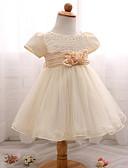 billige Blomsterpikekjoler-Baby Jente Grunnleggende Ensfarget / Blomstret Blonde Ermeløs Bomull Kjole Hvit 80