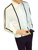 billige T-shirts og undertrøjer til herrer-Klassisk krave Tynd Herre - Stribet / Farveblok Forretning Arbejde Skjorte Hvid XXXL / Langærmet / Efterår