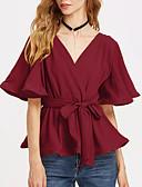 Χαμηλού Κόστους Βραδινά Φορέματα-η χαλαρή μπλούζα των γυναικών - ανοιχτόχρωμο λαιμό
