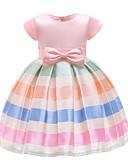 preiswerte Kleider für Mädchen-Kinder Mädchen Aktiv / nette Art Schultaschen / Ausgehen Gestreift / Einfarbig Schleife / Gitter Kurzarm Übers Knie Polyester Kleid Rosa