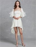 Χαμηλού Κόστους Νυφικά-Γραμμή Α Στράπλες Ασύμμετρο Σατέν Φορέματα γάμου φτιαγμένα στο μέτρο με Πιασίματα με LAN TING BRIDE® / Καμπάνα / Μικρά Άσπρα Φορέματα