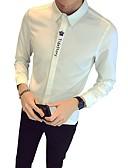 זול חולצות לגברים-אותיות צווארון קלאסי רזה חולצה - בגדי ריקוד גברים / שרוול ארוך