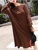 ieftine Tricou-Pentru femei Tricou Rochie Dungi Lungime Genunchi