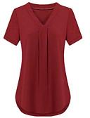 baratos Macacões & Macaquinhos-Mulheres Tamanhos Grandes Camiseta Básico / Moda de Rua Patchwork, Sólido Decote V Solto / Verão