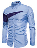 abordables Camisas de Hombre-Hombre Trabajo Camisa Delgado Bloques / Manga Larga