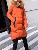 זול מעילי פוך ומעילי פרקה לנשים-עם קפוצ'ון קולור בלוק - נוצות ברווז לבנות מעיל פוך ארוך ליציאה בגדי ריקוד נשים