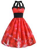 tanie Bluzka-Damskie Vintage / Elegancja Swing Sukienka - Geometric Shape, Nadruk Do kolan