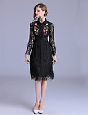 cheap Women's Dresses-Women's Daily Slim Sheath Dress - Floral Embroidered Shirt Collar Fall Black L XL XXL
