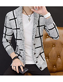 cheap Men's Sweaters & Cardigans-Men's Long Sleeve Slim Cardigan - Color Block V Neck