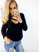 cheap Women's Sweaters-Women's Going out / Weekend Basic / Street chic Solid Colored Long Sleeve Loose Regular Pullover, Round Neck Fall / Winter Cashmere / Cotton Black / Pink / Gray L / XL / XXL / Sexy